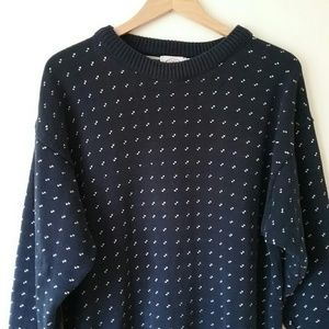 Cape Isle Knitters Sweaters - Vintage Cape Isle Knitters Navy Blue Sweater USA